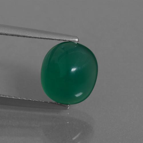 Medium Deep Green Agata Gem - 3ct Ovale cabochon (ID: 443883)