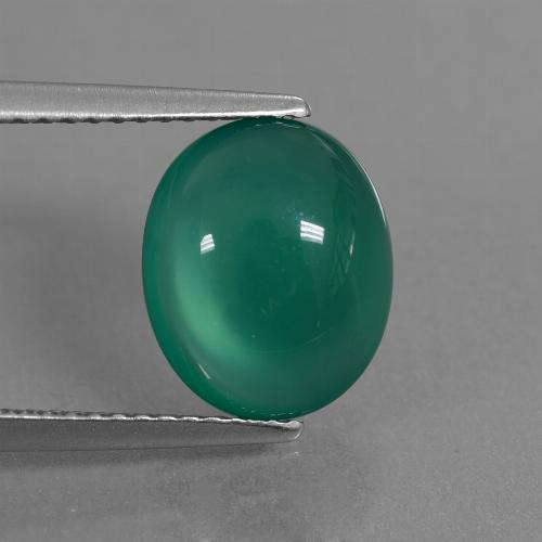 Medium Green Ágata Gema - 3.5ct Cabujón Óvalo (ID: 444032)