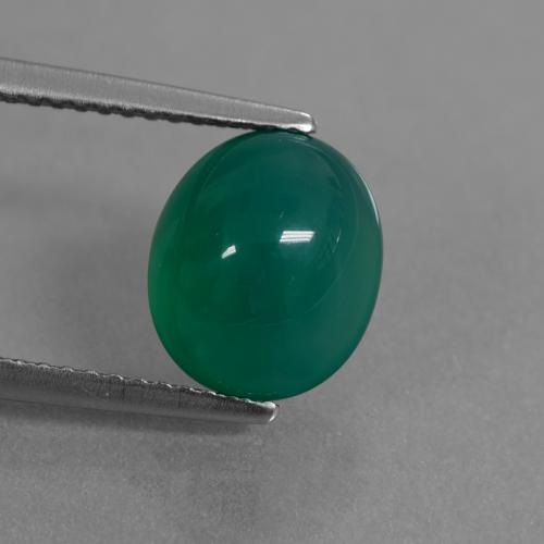 Green Agate Gem - 3.3ct Oval Cabochon (ID: 444041)