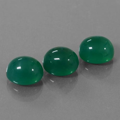 Medium Green Agate Gem - 3.6ct Oval Cabochon (ID: 444074)