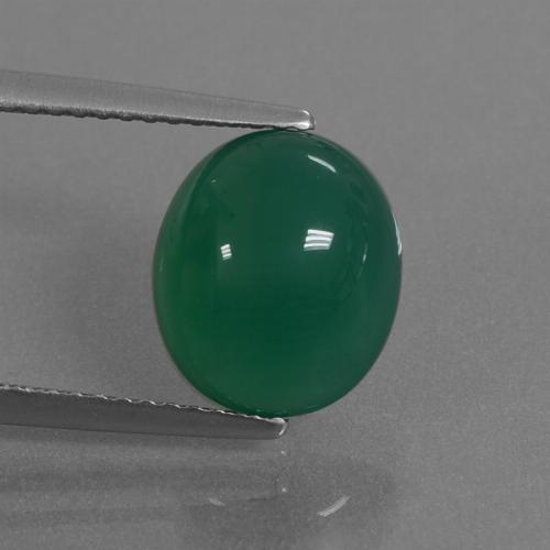 Green Agate Gem - 3.4ct Oval Cabochon (ID: 444077)
