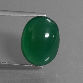 Green Agate Gem - 6.3ct Oval Cabochon (ID: 445144)