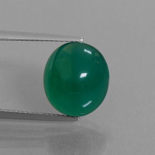 Forest Green Agate Gem - 7.6ct Oval Cabochon (ID: 445193)