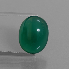 Medium Dark Green عقيق حجر كريم - 8.9ct كابوشون بيضاوى (ID: 445198)