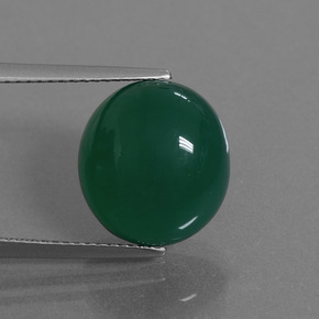 Green Agate Gem - 8.8ct Oval Cabochon (ID: 445256)