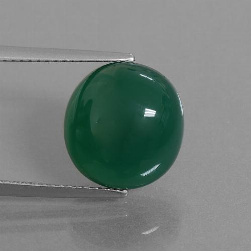 Medium Dark Green Agate Gem - 8.9ct Oval Cabochon (ID: 445259)
