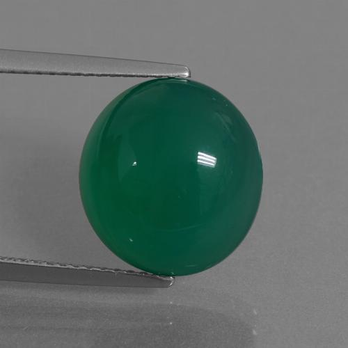 Green Agate Gem - 7.7ct Oval Cabochon (ID: 445277)