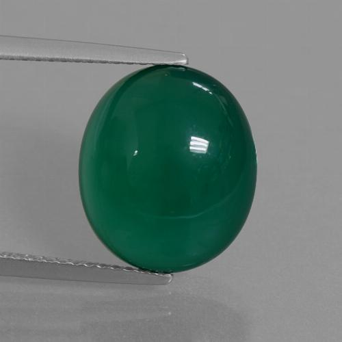Medium Dark Green Agate Gem - 7.8ct Oval Cabochon (ID: 445282)
