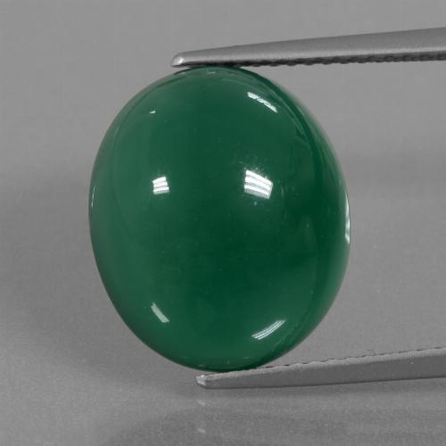 Medium Green Agate Gem - 9.9ct Oval Cabochon (ID: 445626)
