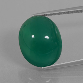 Green Agate Gem - 10.6ct Oval Cabochon (ID: 445647)