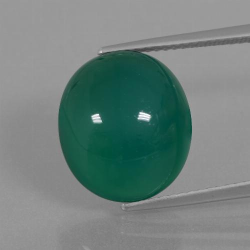 Green Agate Gem - 10.1ct Oval Cabochon (ID: 445648)