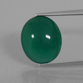 Green Agate Gem - 7.3ct Oval Cabochon (ID: 445655)