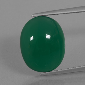 Medium Green Ágata Gema - 7.3ct Cabujón Óvalo (ID: 445660)