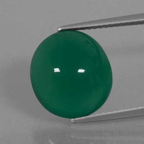 Medium Dark Green Ágata Gema - 7.9ct Cabujón Óvalo (ID: 445666)
