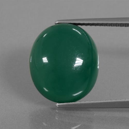 Green Agate Gem - 10.2ct Oval Cabochon (ID: 445725)