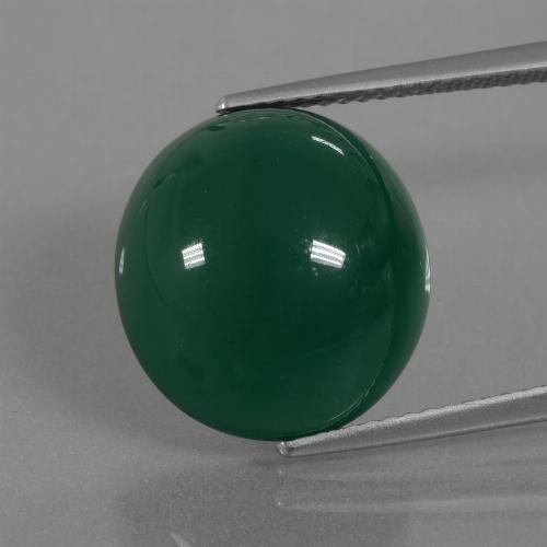 Green Agate Gem - 11.2ct Oval Cabochon (ID: 445730)