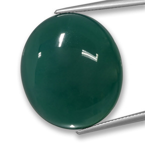 42.59 ct Oval Cabochon Green Agate Gemstone 26.57 mm x 23.2 mm (Product ID: 457778)
