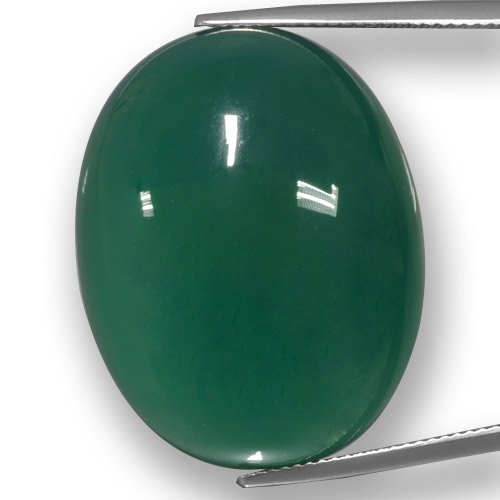 Green Agate Gem - 53.1ct Oval Cabochon (ID: 457784)