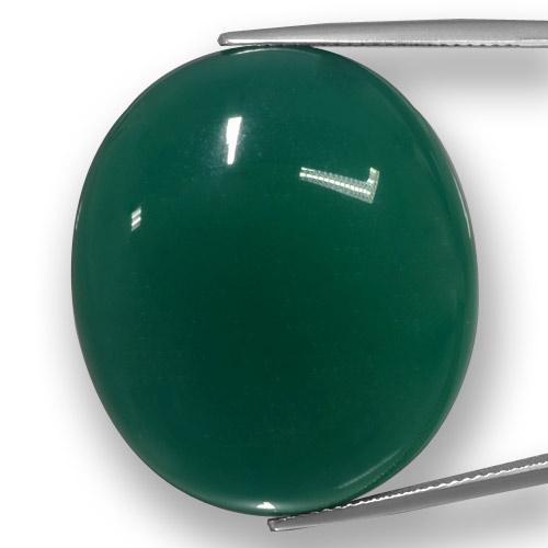 Green Agate Gem - 58.4ct Oval Cabochon (ID: 457785)
