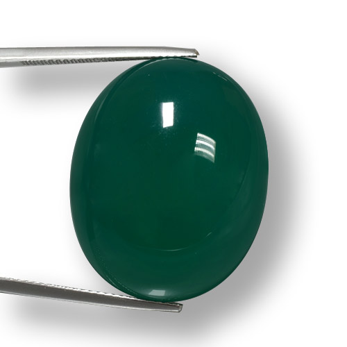 48.61 ct Oval Cabochon Cool Green Agate Gemstone 27.78 mm x 22.3 mm (Product ID: 457887)