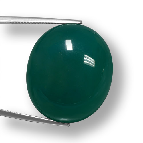 50.18 ct Ovale Cabochon Vert Agate gemme 27.68 mm x 23.9 mm (Photo A)