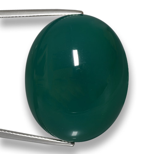 Dark Green Agate Gem - 75.2ct Oval Cabochon (ID: 458056)