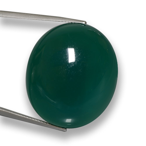 59.91 ct Oval Cabochon Deep Green Agate Gemstone 28.18 mm x 24.3 mm (Product ID: 458058)