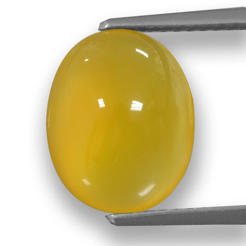 Yellow Agate Gem - 4.7ct Oval Cabochon (ID: 458220)