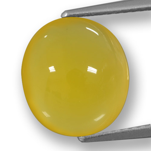 Yellowish Gold Agate Gem - 5.9ct Oval Cabochon (ID: 458221)