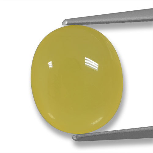 Light Golden-Yellow Agate Gem - 4.2ct Oval Cabochon (ID: 458225)