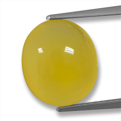 Yellow Agate Gem - 4.4ct Oval Cabochon (ID: 458228)
