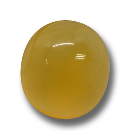 Yellow Agate Gem - 7.3ct Oval Cabochon (ID: 458528)