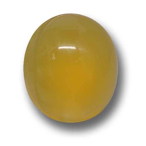 Yellow Agate Gem - 4.4ct Oval Cabochon (ID: 458578)