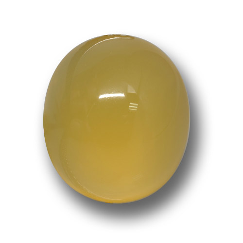 Yellow Agate Gem - 4.9ct Oval Cabochon (ID: 458611)