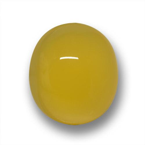 Honey Yellow Agate Gem - 3.3ct Oval Cabochon (ID: 458717)