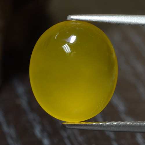 Yellow Agate Gem - 5.4ct Oval Cabochon (ID: 467627)