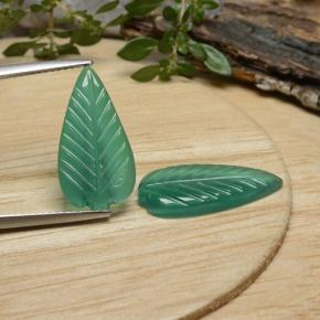 Green Agate Gem - 3.2ct Carved Leaf (ID: 470940)