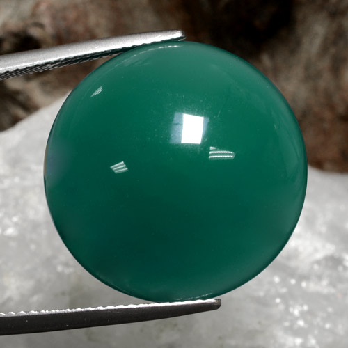 27.7ct Cabochon rond Medium Green Agate gemme (ID: 473132)