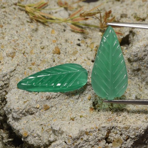 Green Agate Gem - 3ct Carved Leaf (ID: 474392)