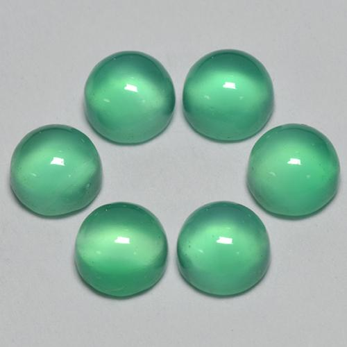 Intense Mint Green Agate Gem - 0.3ct Round Cabochon (ID: 495564)