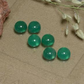 Warm Green Agate Gem - 0.3ct Round Cabochon (ID: 495565)