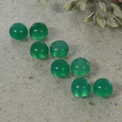 Medium Green Agate Gem - 0.3ct Round Cabochon (ID: 495631)