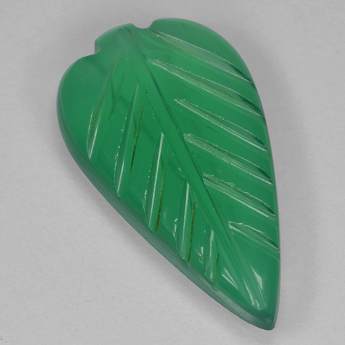 Medium Green Ágata Gema - 2.6ct Leaf de fantasía tallada (ID: 500989)