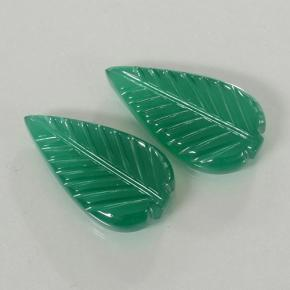 4.36 ct Fantasy Carved Leaf Medium Green Agate Gemstone 17.97 mm x 9.9 mm (Product ID: 501160)