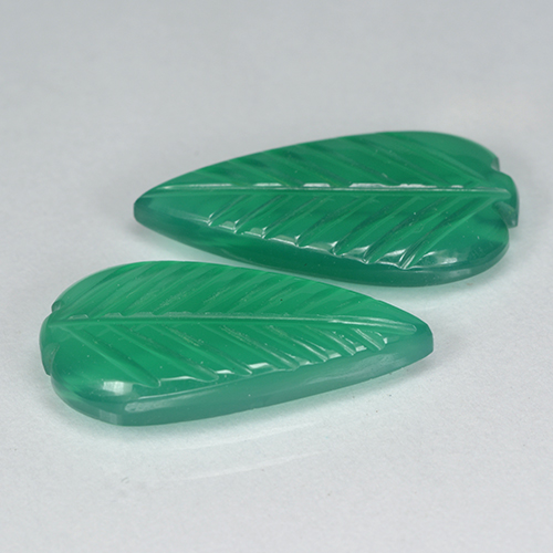 Green Agate Gem - 3.2ct Fantasy Carved Leaf (ID: 501234)