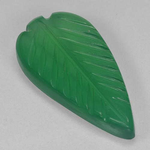 4.4ct Fantasy Carved Leaf Warm Green Agate Gem (ID: 501380)