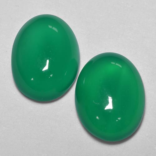 Medium Green Ágata Gema - 1.1ct Cabujón Óvalo (ID: 516660)