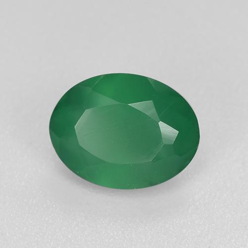 Green Agate Gem - 0.9ct Oval Facet (ID: 518890)