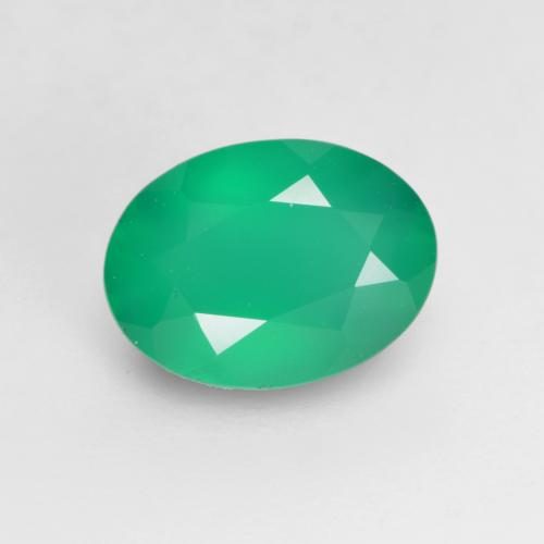 Medium Green Agate Gem - 1.1ct Oval Facet (ID: 534797)