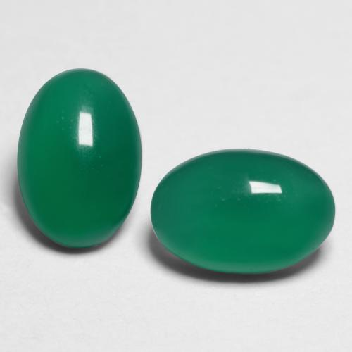 Medium Green Agate Gem - 0.5ct Oval Cabochon (ID: 548505)
